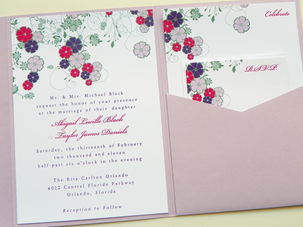 Pocketfold Wedding Invitations - Dancing Blooms In Color Signature ...